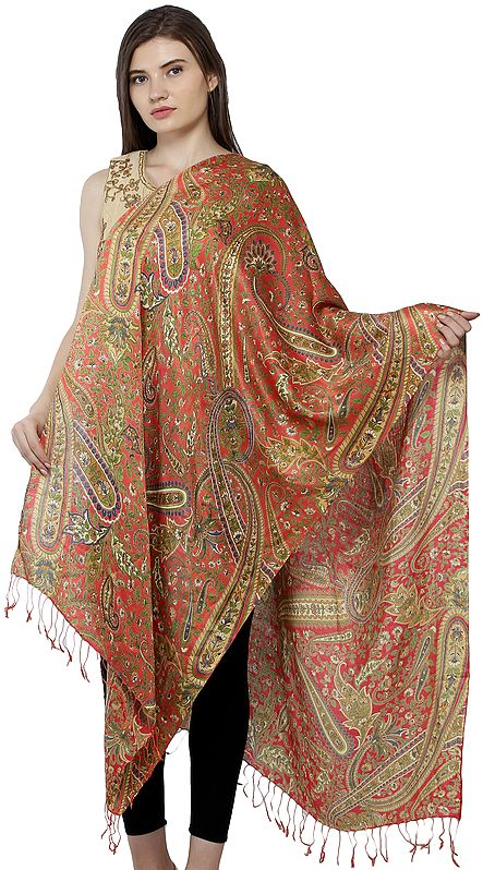 Emberglow Digital-Printed Kani Stole with Woven Florals and Paisleys in Multicolored Thread