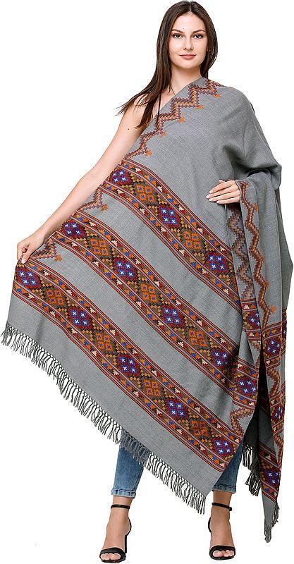 Mirage Handloom Shawl from Kullu with Kinnauri Border and ZigZag Weave