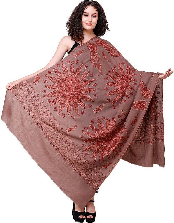 Pine-Bark Tusha Shawl from Kashmir with Needle-Embroidered Mandalas