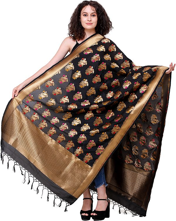 Brocaded Dupatta from Banaras with Zari-Woven Parrots All-Over