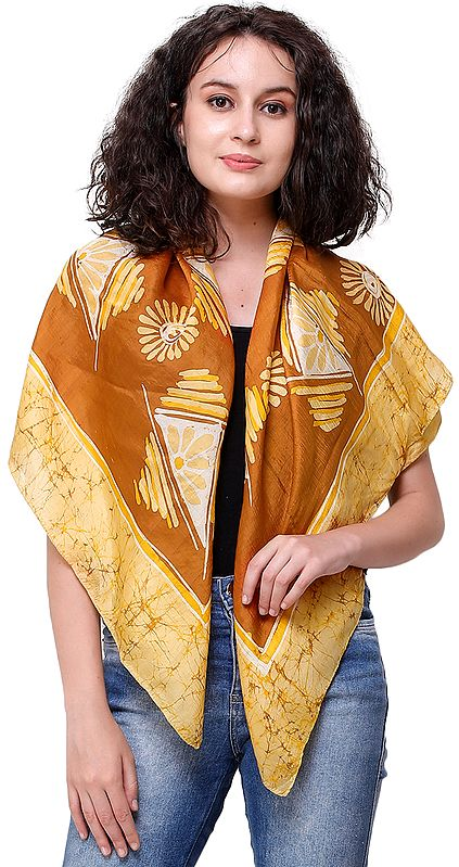 Caramel Batik Scarf with Floral Bootis and Triangles