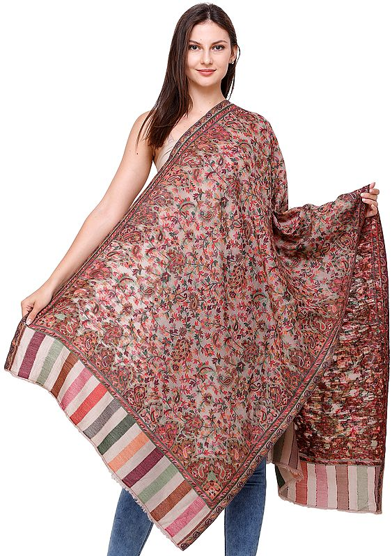 Kani Jamawar Stole from Amritsar with Woven Florals and Paisleys