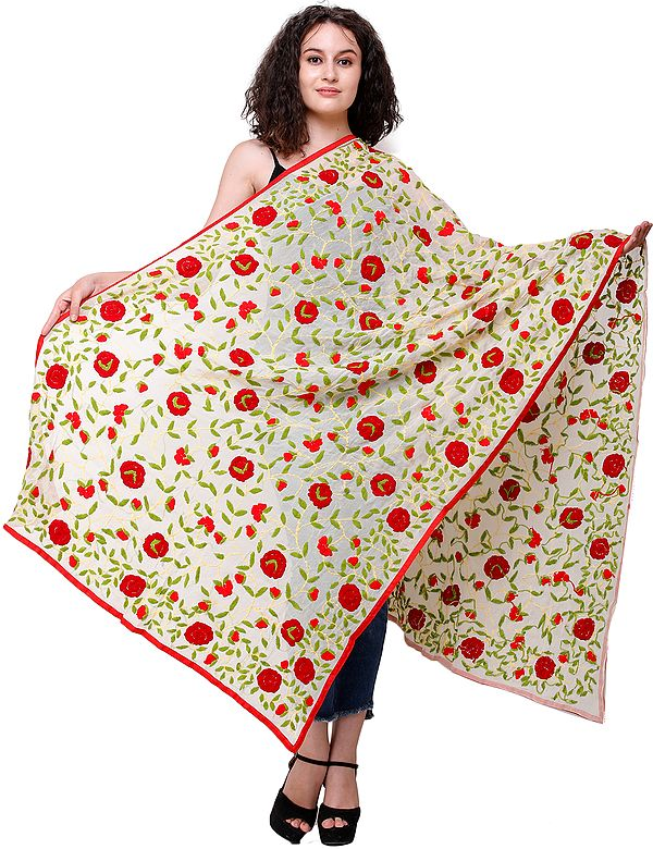 Phulkari Dupatta from Punjab with Embroidered Flowers All-Over and Studded Sequins