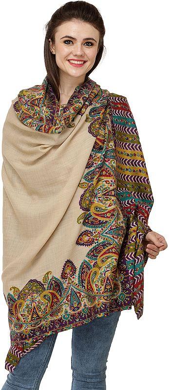 Pebble Printed Kani Shawl from Amritsar with Multicolor Paisleys and Kalamkari Embroidery by Hand