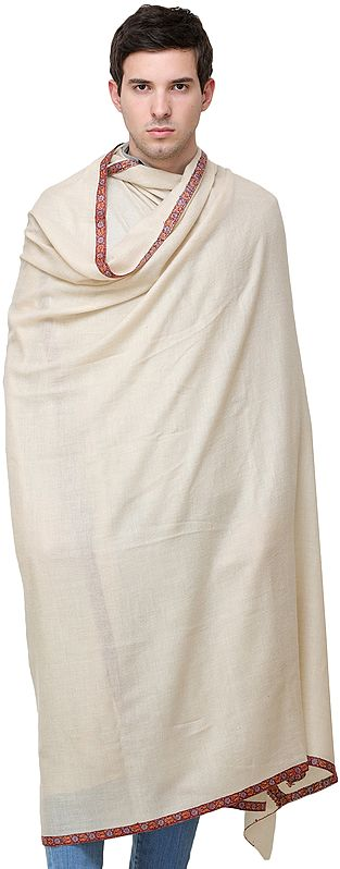 Pearled-Ivory Pure Pashmina Handloom Men's Shawl from Kashmir with Sozni Hand-Embroidery on Border