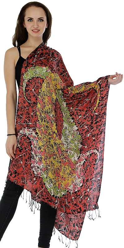 Mineral-Red Stole from Amritsar with Grafitti Print