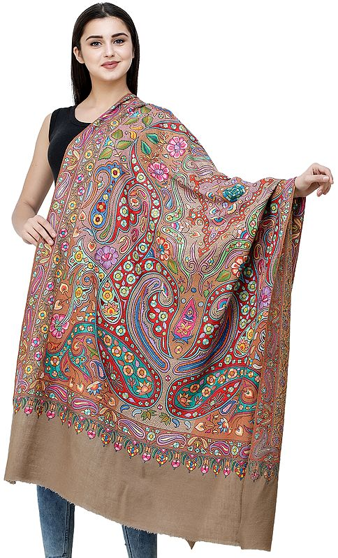 Light-Taupe Pure Pashmina Shawl from Kashmir with Papier-Mache Hand-Embroidery in Multicolor Thread