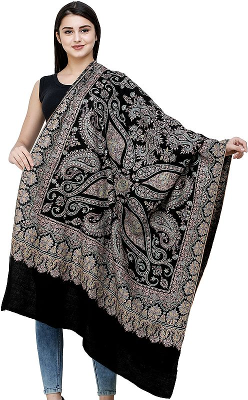 Pirate-Black Pure Pashmina Shawl from Kashmir with Sozni Hand-Embroidered Flowers  and Paisleys