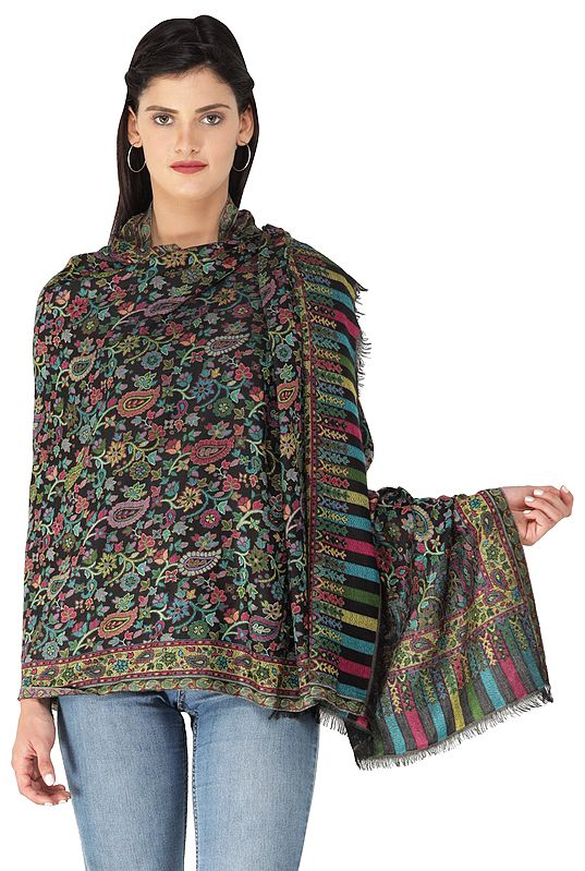 Kani Jamawar Stole from Amritsar with Multicolor Floral Vines