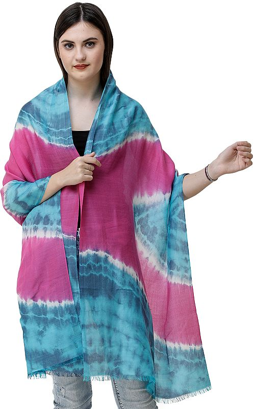 Blue-Atoll Tie-Dye Stole from Nepal