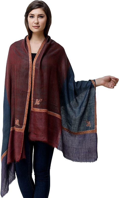 Apple-Butter Cashmere Stole from Kashmir with Sozni Hand-Embroidery on Border