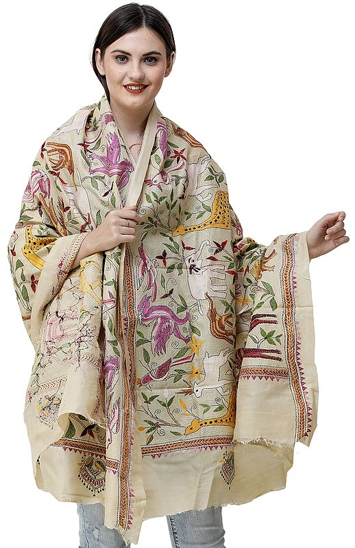 Banana-Cream Dupatta from Bengal with Kantha Embroidered Wild Life