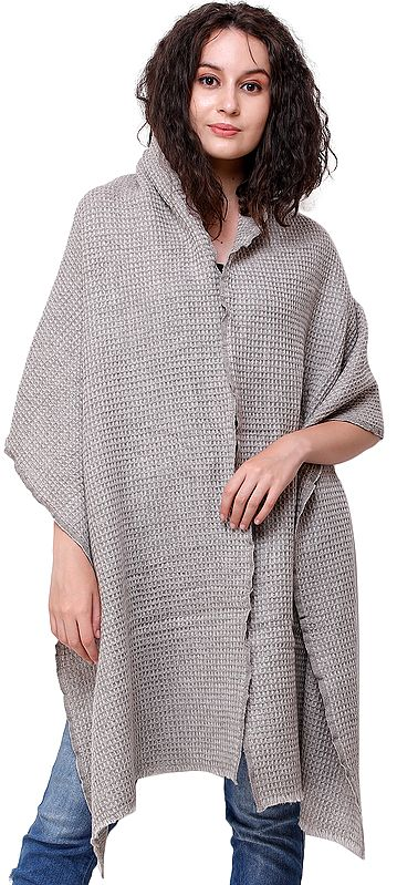 Silver-Lining Cashmere Stole from Nepal with Woven Checks