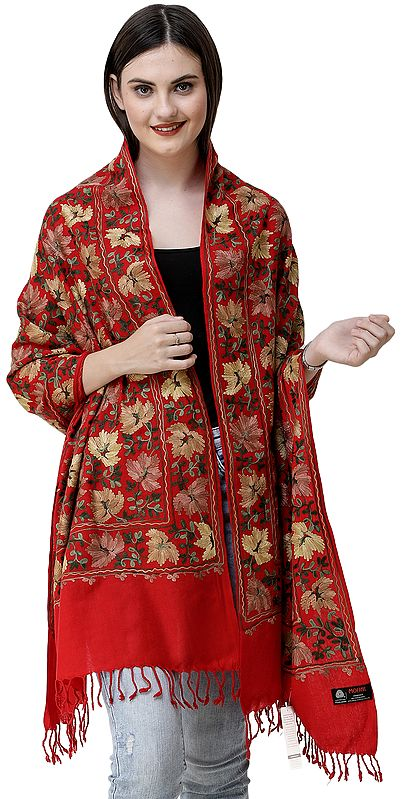 Stole from Amritsar with Embroidered Chinar Leaves All-Over