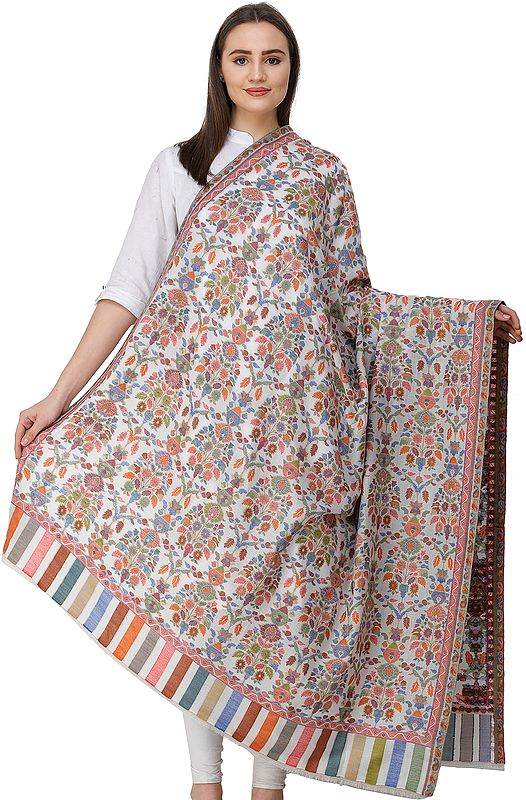 Kani Jamawar Shawl from Amritsar with Woven Flowers in Multicolor Thread