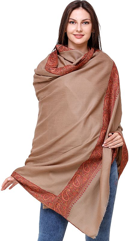 Plaza-Taupe Plain Tusha Shawl from Kashmir with Sozni Embroidered Flowers and Paisleys on Border
