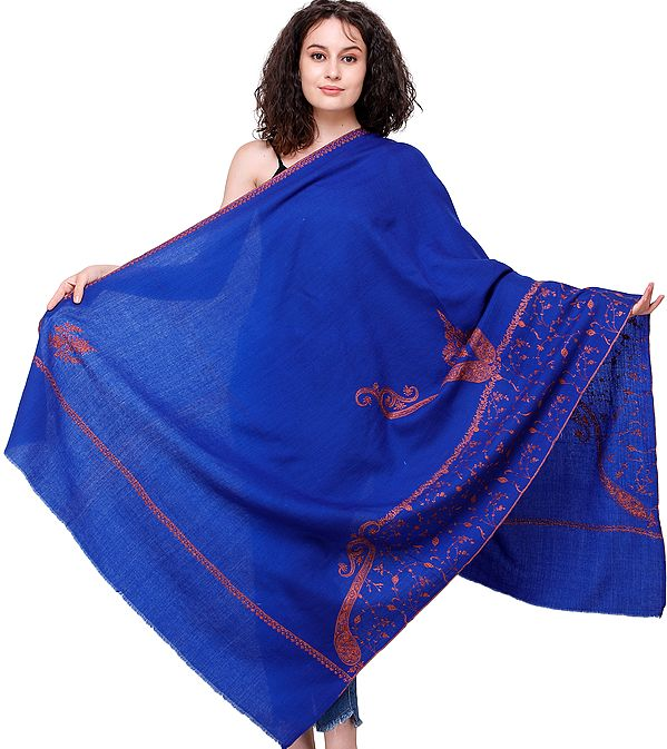 Mazarine-Blue Tusha Shawl from Kashmir with Sozni Embroidered Paisleys and Floral Vines