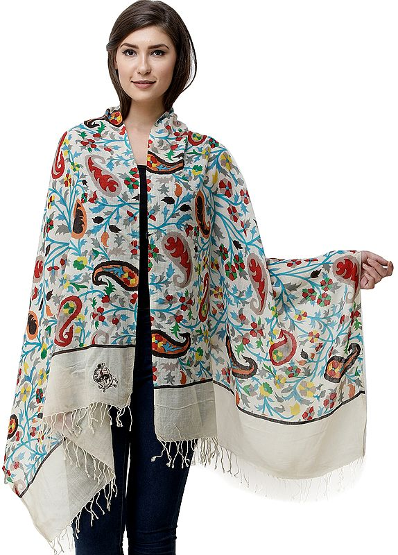 Ivory Stole with Kani Printed Flowers and Embroidered Emblem