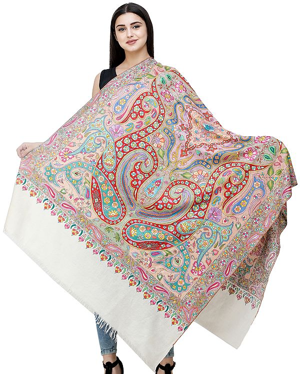 Cream Pure Pashmina Shawl from Kashmir with Sozni Hand-Embroidered Giant Paisleys and Flowers in Multicolor Thread