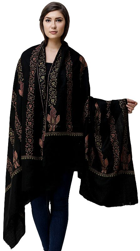 Phantom-Black Tusha Shawl from Kashmir with Sozni Hand-Embroidered Floral Vines and Paisleys