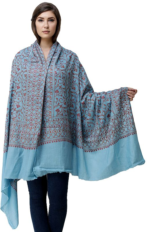 Maui-Blue Cashmere Shawl from Kashmir with Sozni Hand-Embroidered Floral Vines