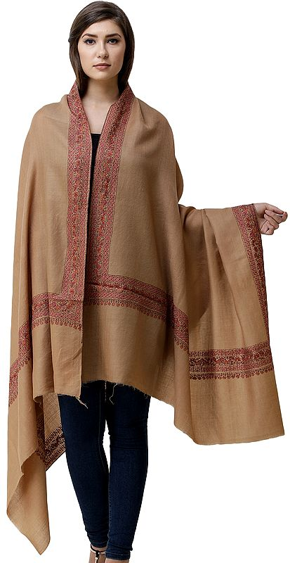 Tusha Shawl from Kashmir with Sozni Hand-Embroidered Floral Vines on Border