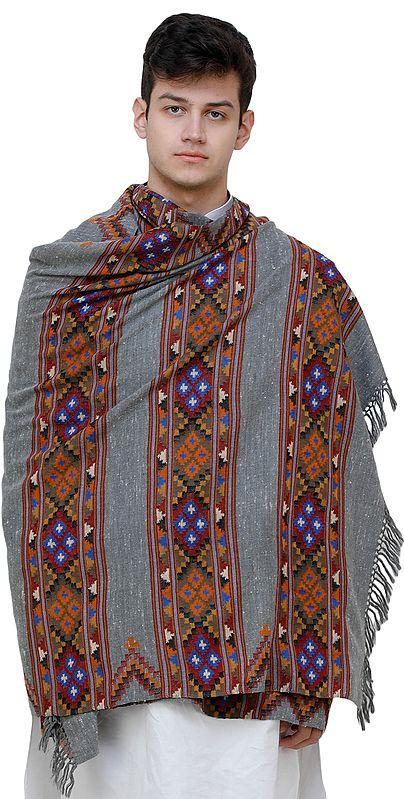 Cloudburst-Gray Men's Shawl from Kullu with Kinnauri Woven Triple Border in Multicolor Thread