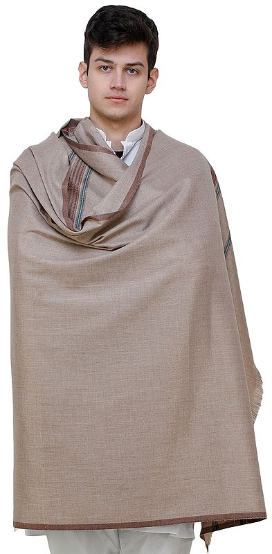Men's Shawl from Punjab with Woven Border