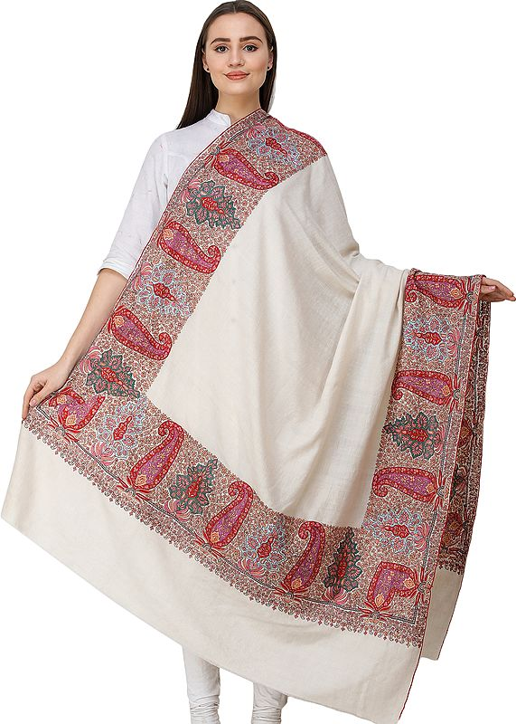 Pearled-Ivory Pashmina Shawl from Kashmir with Sozni Hand-Embroidered Multicolor Paisleys on Border
