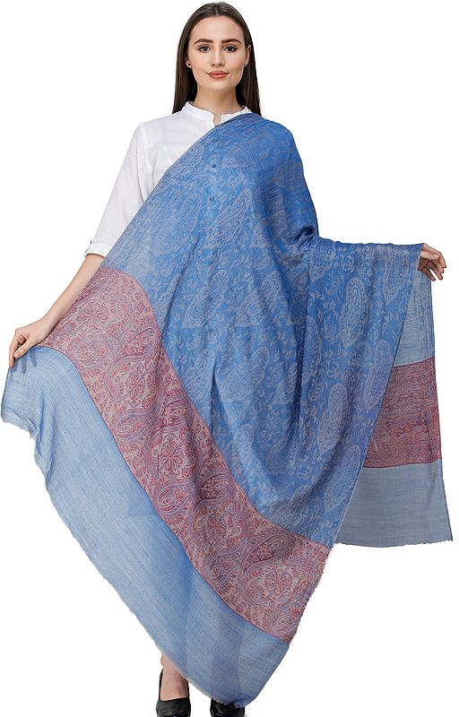Jamawar Shawl from Amritsar with Floral Border and Paisleys Woven in Self