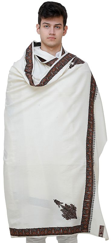 Cream Men's Shawl from Amritsar with Needle Embroidery on Border