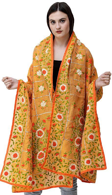 Phulkari Dupatta from Punjab with Multicolor Hand-Embroidery and Gota Checks