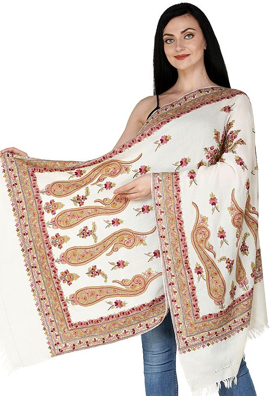 Lily-White Stole from Kashmir with Hand-Embroidered Paisleys and Flowers