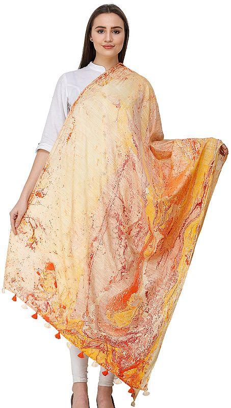 Marble Printed Tie-Dye Dupatta