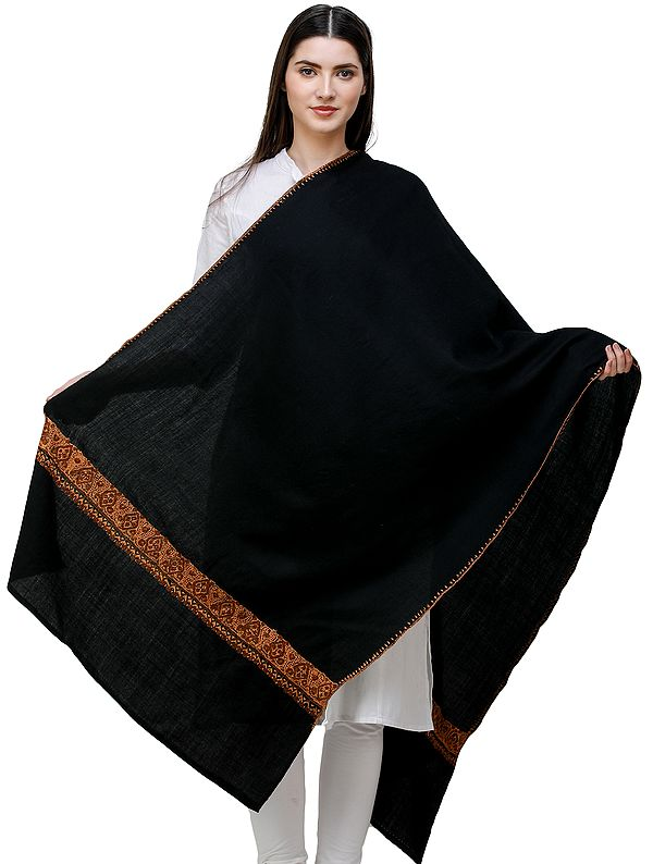 Tusha Plain Stole from Kashmir with Sozni Hand-Embroidery on Border