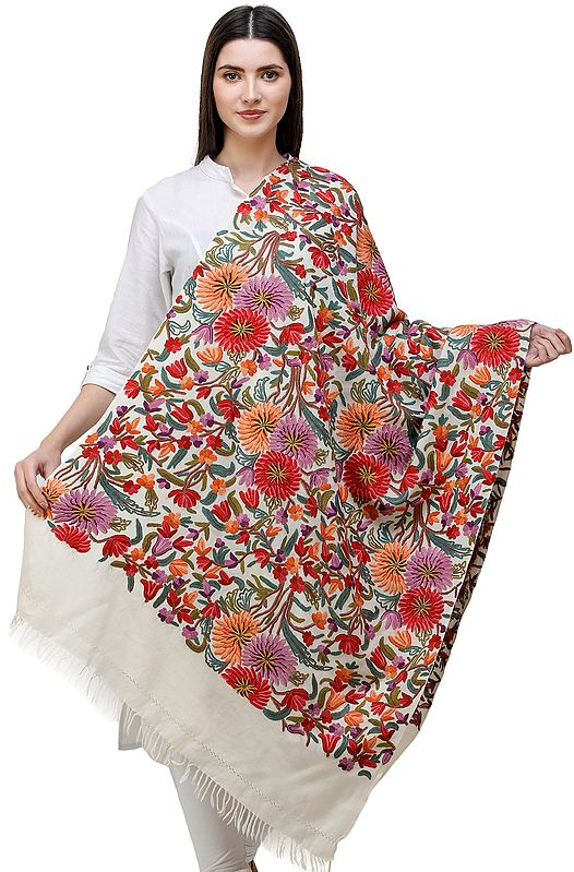 Cream Stole from Kashmir with Hand-Embroidered Multicolor flowers All-Over