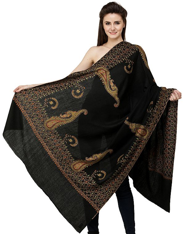 Pirate-Black Tusha Shawl from Kashmir with Sozni Hand-Embroidered Floral Vines and Giant Paisleys