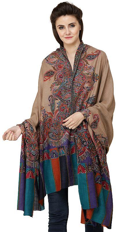 Oxford-Tan Printed Kani Shawl from Amritsar with Kalamkari Embroidery by Hand
