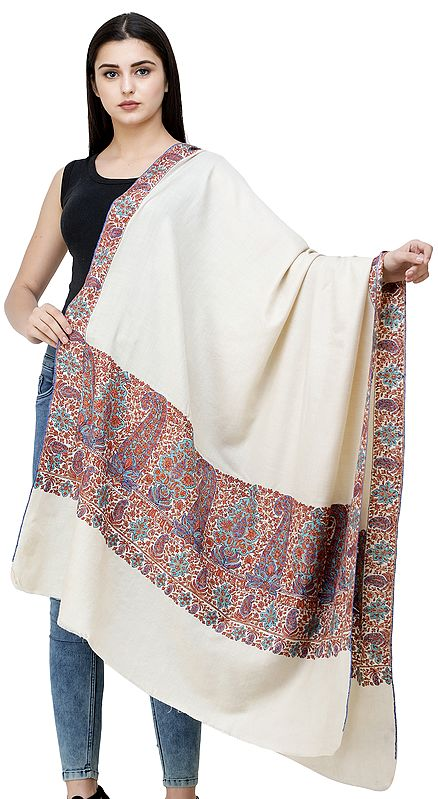 Cream Pure Pashmina Shawl from Kashmir with Sozni Hand-Embroidered Multicolor Paisleys on Border