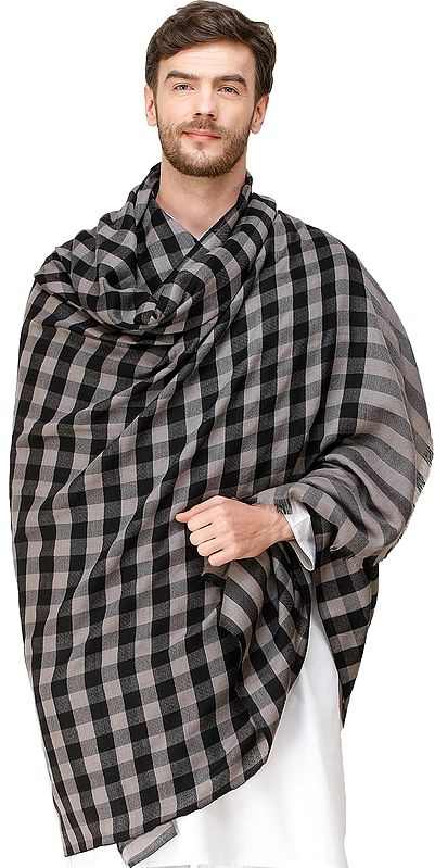 Gray and Black Mens' Pashmina Shawl from Amritsar with Woven Checks