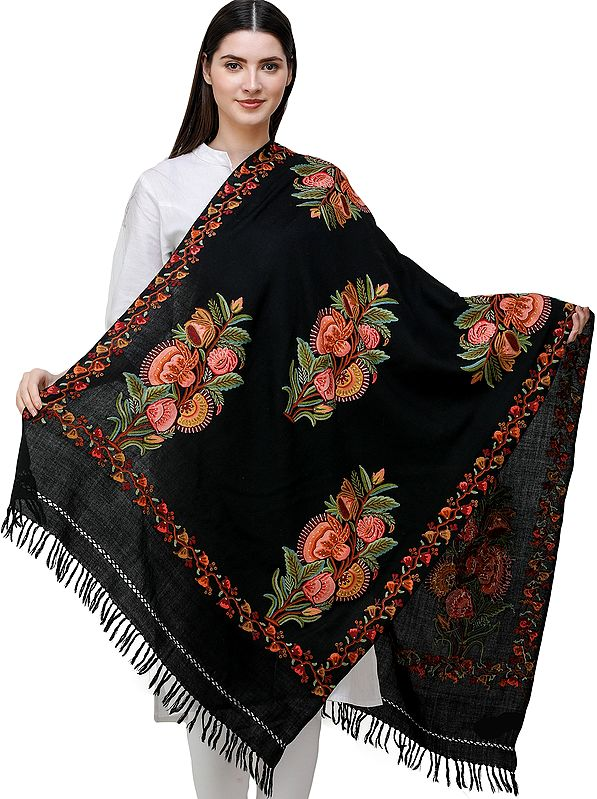 Jet-Black Stole from Kashmir with Hand-Embroidered Flowers All-over