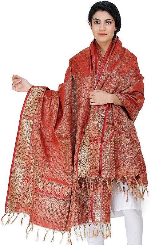 Garnet Red Dupatta from Banaras with Golden Thread Weave