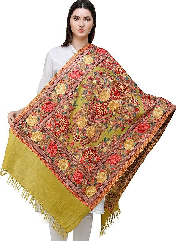 Golden Olive Stole from Kashmir with Ari Embrodiered Flowers All-over