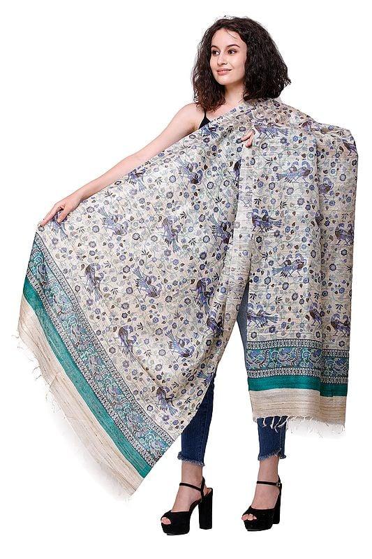 Kosa Silk Handloom Dupatta from Jharkhand with Printed Peacocks All-Over
