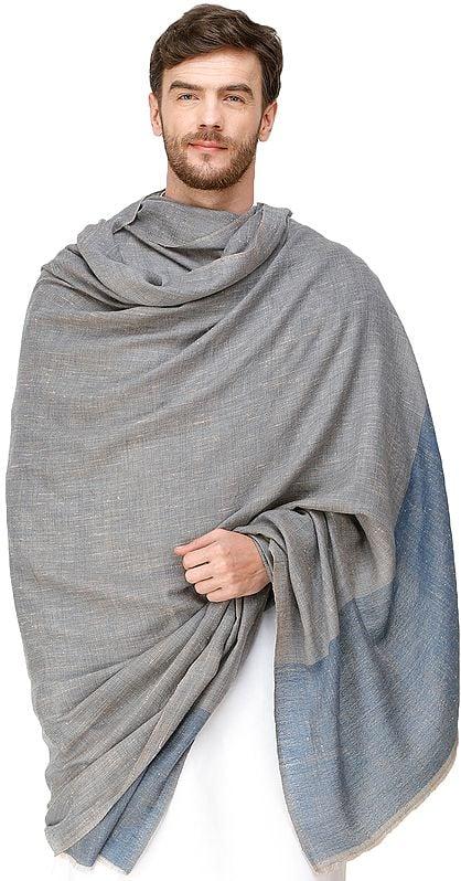 Gray and Bluestone Mens' Pashmina Shawl from Amritsar