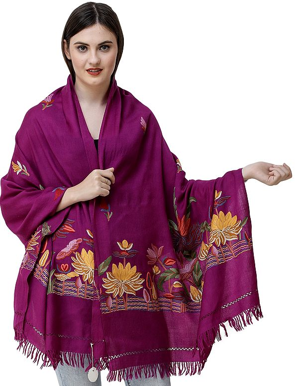 Wild Aster Stole from Kashmir with Hand-Embroidered Lotuses