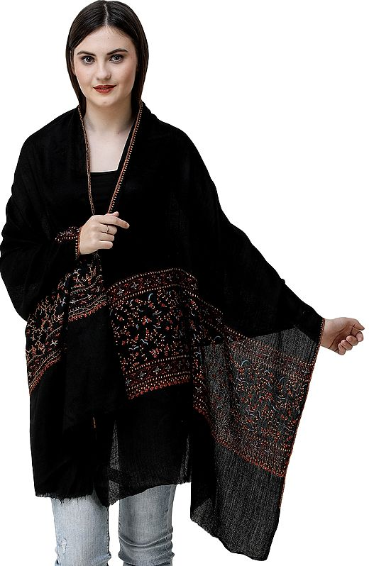 Black Tusha Stole from Srinagar with Needle Embroidery by Hand