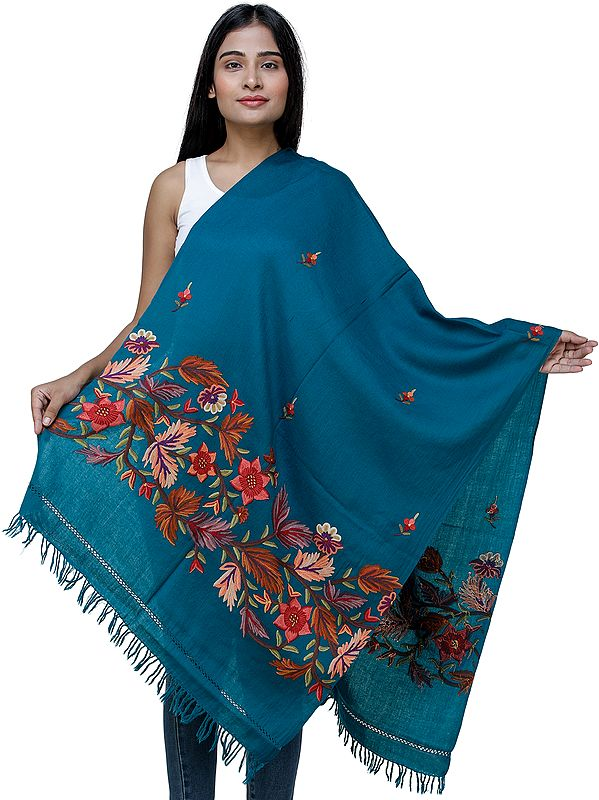 Traditional Woolen Stole from Kashmir with Hand-Embroidered Flowers