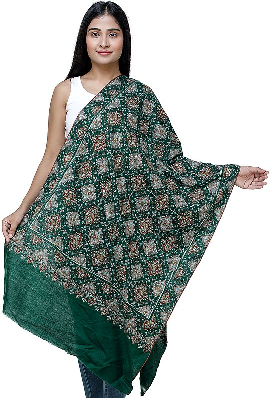 Eden-Green Pashmina Stole From Kashmir with Intricate Hand Embroidery