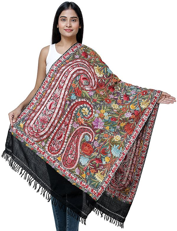 Bristol-Black Ari  Woolen Stole from Kashmir with Heavily Hand-Embroidered Paisleys and Flowers